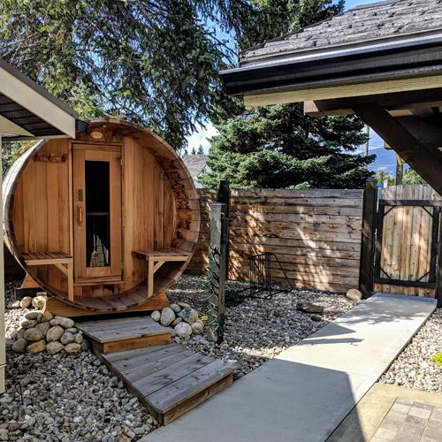 Enjoy the six-person cedar barrel sauna right outside your door.