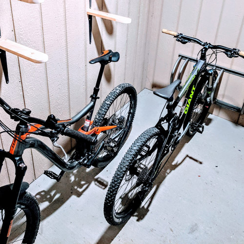 Secure bike and ski storage.