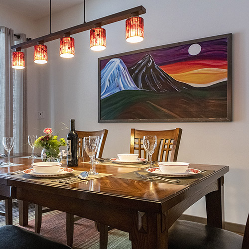 Enjoy meals amidst the vibrant local art.